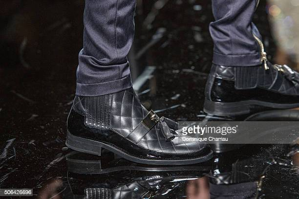 A model shoe detail walks the runway during the Balmain Menswear Fall/Winter 20162017 show as part of Paris Fashion Week on January 23 2016 in Paris...