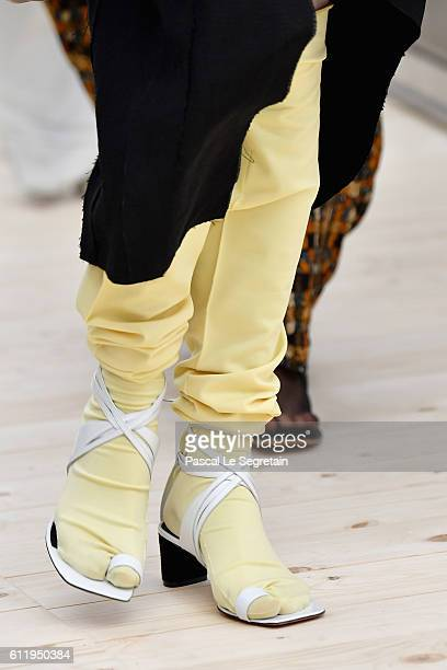 A model shoe detail walks the runway during the Celine show as part of the Paris Fashion Week Womenswear Spring/Summer 2017 on October 2 2016 in...