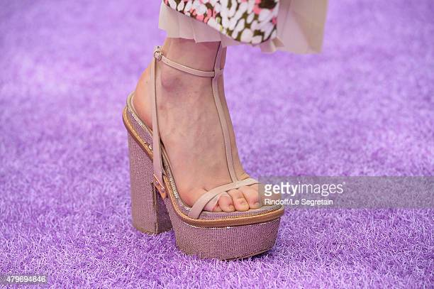 A model shoe detail walks the runway during the Christian Dior show as part of Paris Fashion Week Haute Couture Fall/Winter 2015/2016 on July 6 2015...