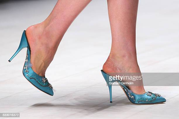 A model shoe detail walks the runway during the Oscar de la Renta show presented by Etihad Airways at MercedesBenz Fashion Week Resort 17 Collections...