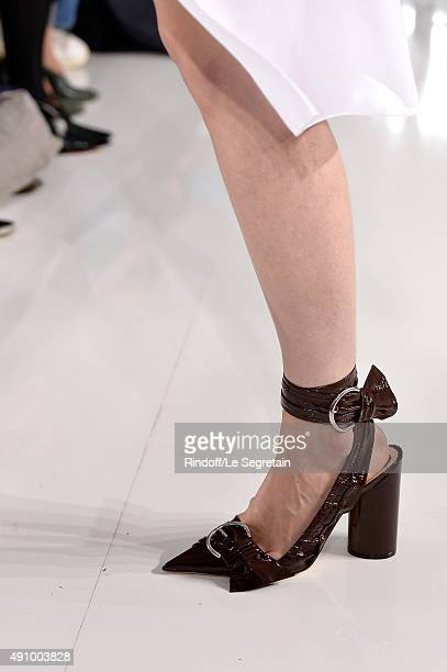 A model shoe detail walks the runway of the Christian Dior show as part of the Paris Fashion Week Womenswear Spring/Summer 2016 at Cour Carree du...