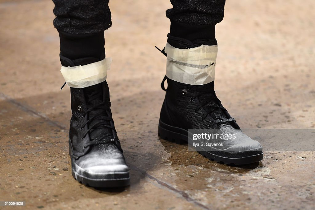 A model, shoe detail, walks the runway wearing Pyer Moss Fall 2016 during MADE Fashion Week at Milk Studios on February 13, 2016 in New York City.