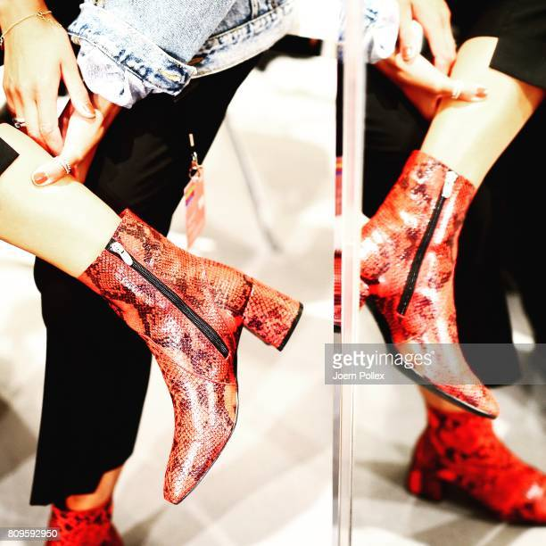 A model shoes detail is seen backstage ahead of the Atelier About show during the MercedesBenz Fashion Week Berlin Spring/Summer 2018 at Kaufhaus...