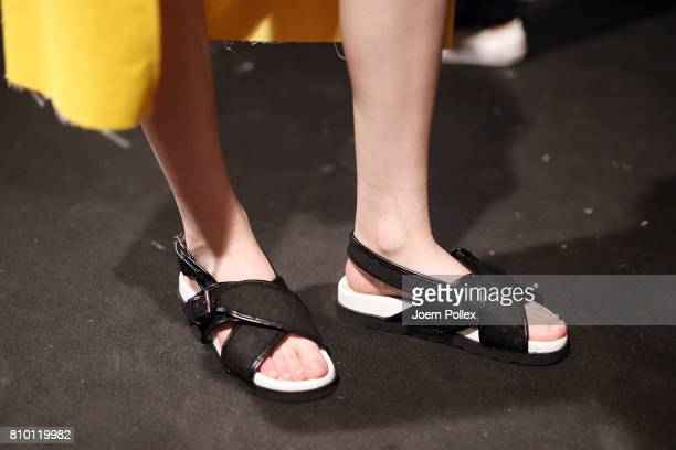 A model shoes detail is seen backstage ahead of the Vladimir Karaleev show during the MercedesBenz Fashion Week Berlin Spring/Summer 2018 at Kaufhaus...