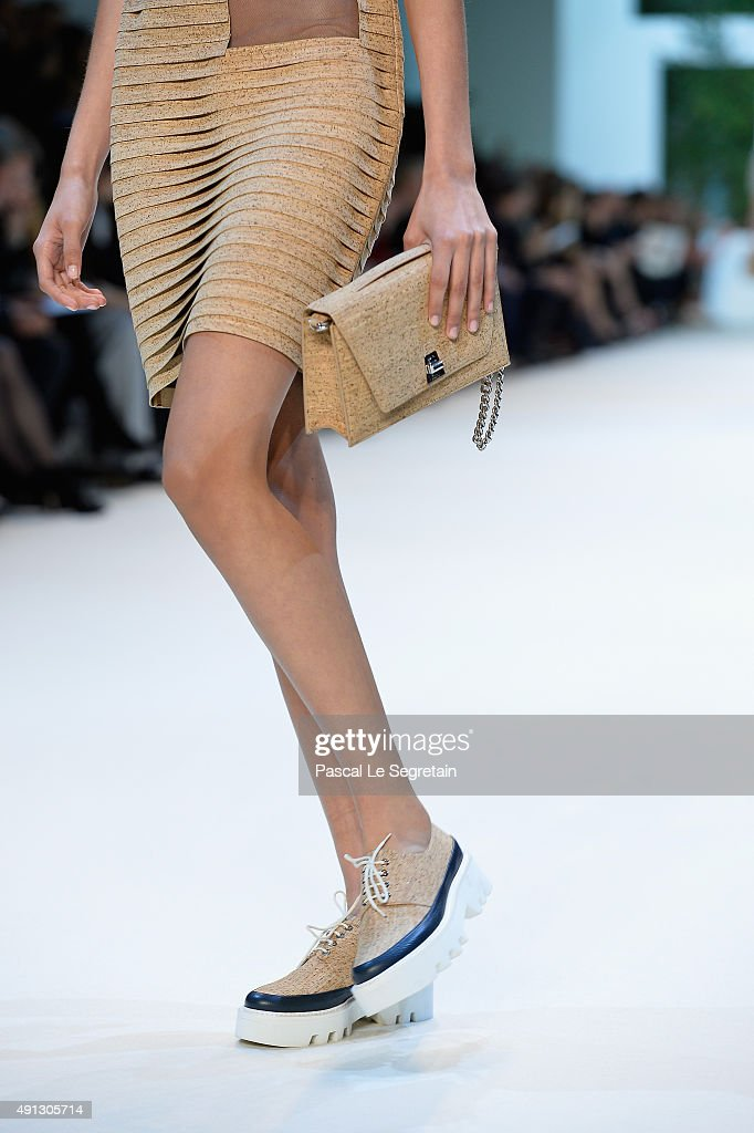A model shoes detail walks the runway during the Akris show as part of the Paris Fashion Week Womenswear Spring/Summer 2016 on October 4 2015 in...