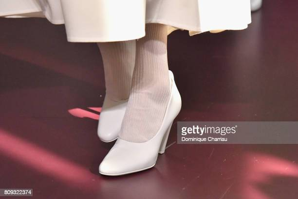 A model shoes detail walks the runway during the Valentino Haute Couture Fall/Winter 20172018 show as part of Haute Couture Paris Fashion Week on...