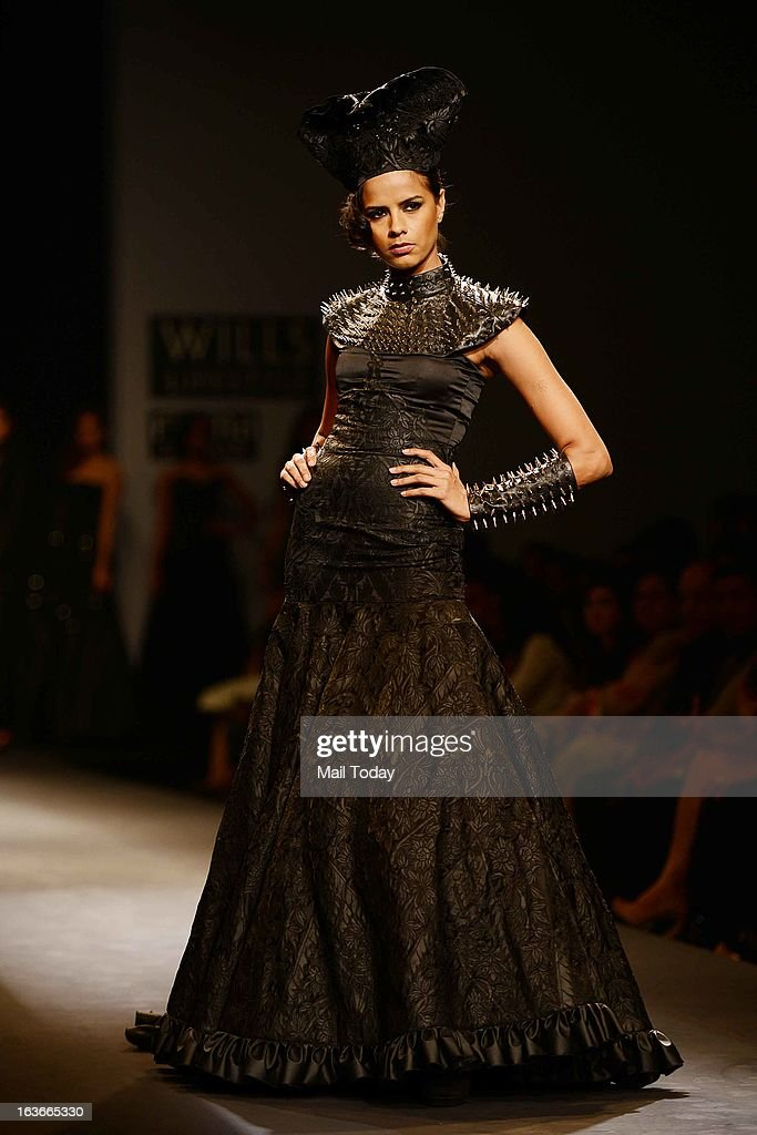 A model showcases a creation by designer Siddhartha Tytler at Wills Lifestyle India Fashion Week in New Delhi on March 13, 2013.