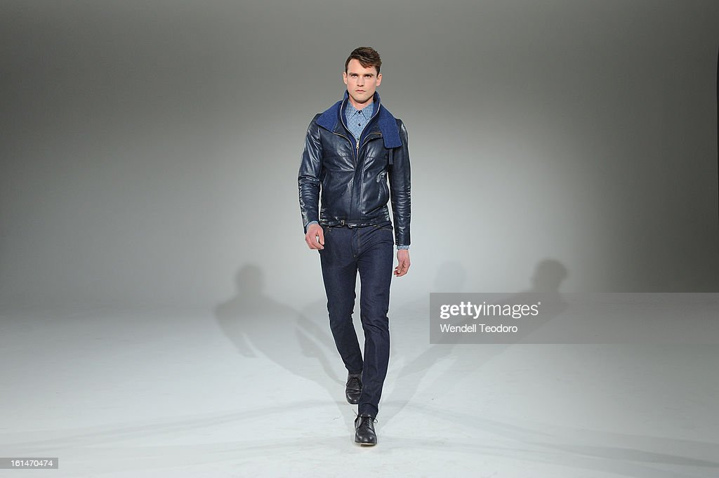 A model showcases a design by Carlos Campos during the Carlos Campos presentation during Fall 2013 MADE Fashion Week at Milk Studios on February 10, 2013 in New York City.
