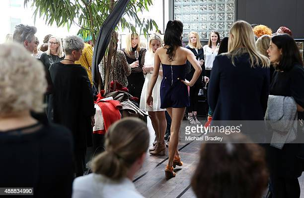 A model showcases a design by Kathryn Wilson at Ostro Restaurant during the Britomart 'A Taste of Fashion' Progressive Lunch at the Britomart...