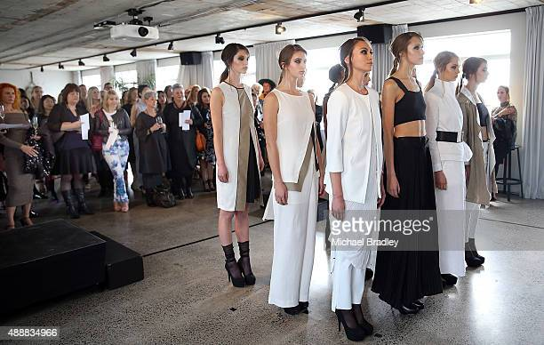 A model showcases a design by Taylor during the Britomart 'A Taste of Fashion' Progressive Lunch at the Britomart Precinct on September 18 2015 in...