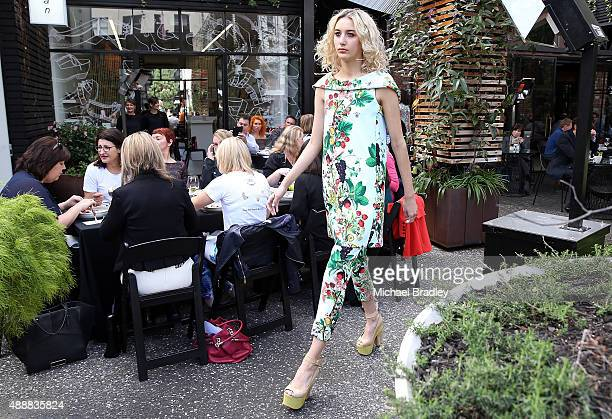 A model showcases a design by Trelise Cooper at Ortolana Restaurant during the Britomart 'A Taste of Fashion' Progressive Lunch at the Britomart...