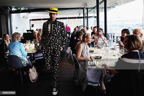 A model showcases a design by World at Ostro during the Britomart 'A Taste of Fashion' Progressive Lunch at the Britomart Precinct on September 18...