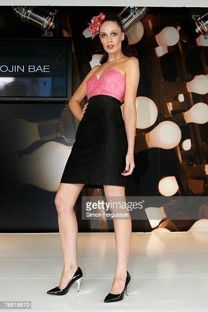 A model showcases a design by Yeojin Bae during the launch of Myer's New SpringSummer 2007 Collection at the Bourke Street Myer Store on September 5...