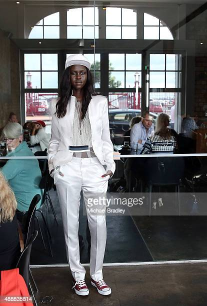A model showcases a design by Zambesi at Ebisu Restaurant during the Britomart 'A Taste of Fashion' Progressive Lunch at the Britomart Precinct on...