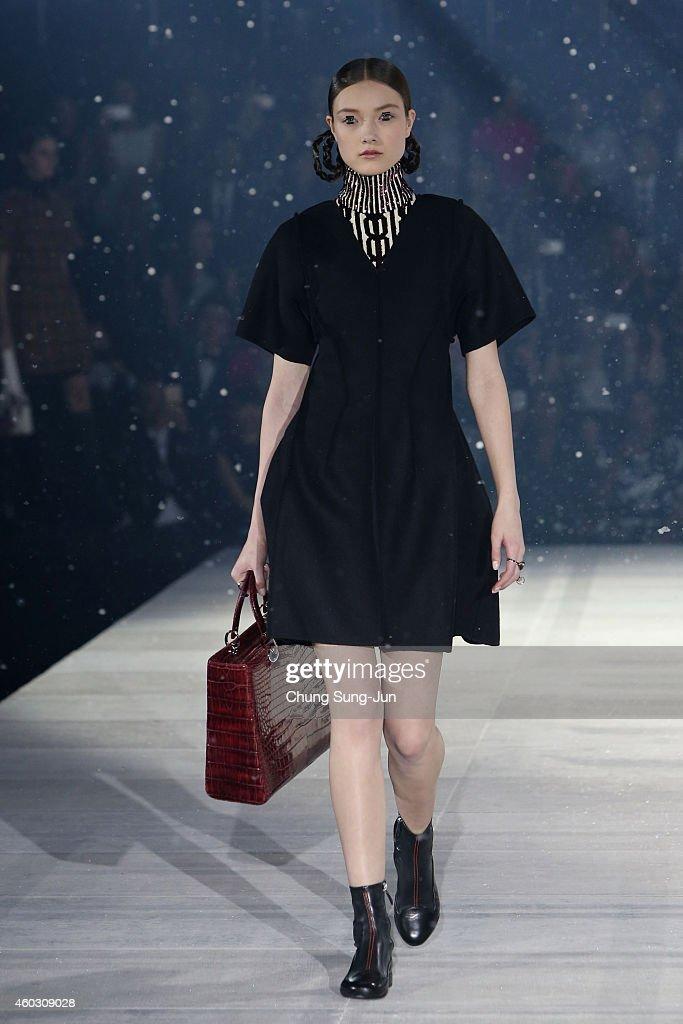A model showcases a design during 'Esprit Dior' Tokyo 2015 Fashion Show at Ryogoku Kokugikan on December 11 2014 in Tokyo Japan