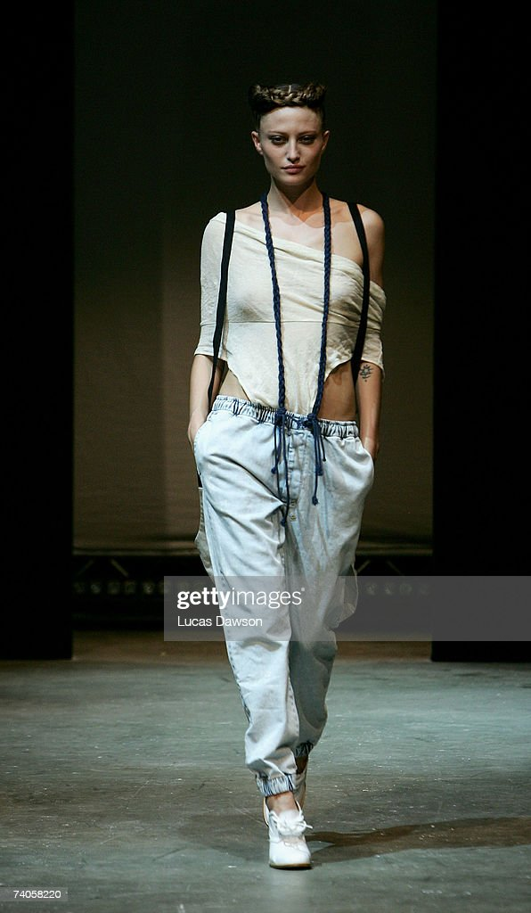 A model showcases an outfit designed by Ksubi during the Ksubi Catwalk show on day four of Rosemount Australian Fashion Week Spring/Summer 2007/08 at...