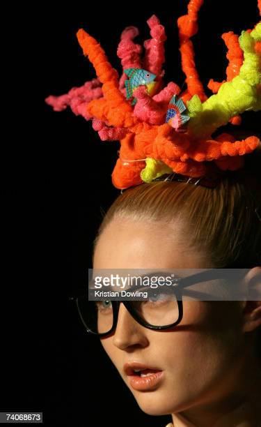 A model showcases an outfit on the catwalk by designer Romance Was Born on day five of Rosemount Australian Fashion Week Spring/Summer 2007/08 at the...