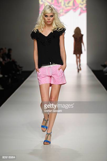 A model showcases an outift by designer Leonard St as part of the Ready To Wear group catwalk show during the second day of the Rosemount Australian...