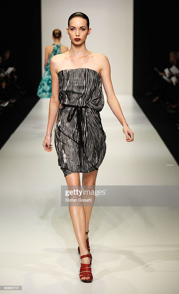 A model showcases an outift by designer Lisa Ho on the catwalk during the second day of the Rosemount Australian Fashion Week Spring/Summer 2008/09...