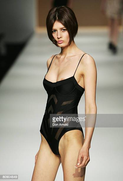 A model showcases an outift by designer Zimmermann on the catwalk on the second day of the Rosemount Australian Fashion Week Spring/Summer 2008/09...