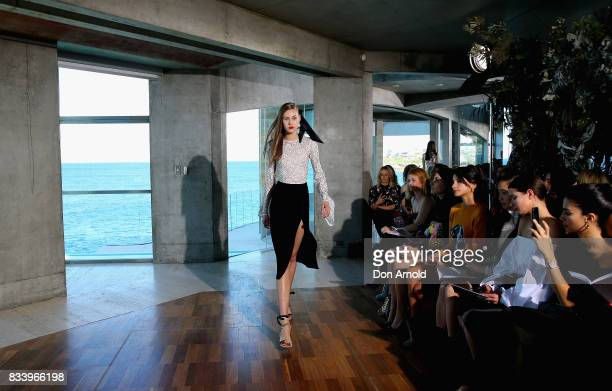 A model showcases desgigns at the Myer Spring 2017 Fashion Launch at South Coogee on August 17 2017 in Sydney Australia
