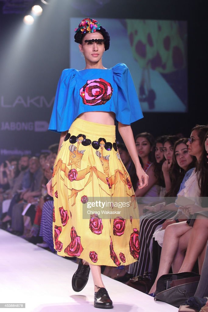 A model showcases designs at the Gen Next show during day 1 of Lakme Fashion Week Winter/Festive 2014 at The Palladium Hotel on August 20, 2014 in Mumbai, India.