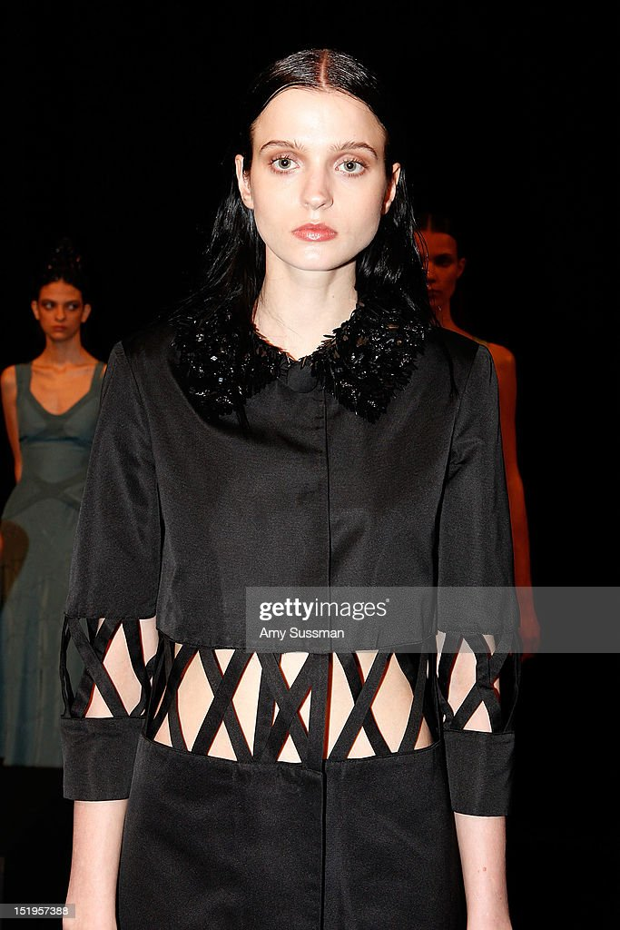A model showcases designs at the Giuletta Spring 2013 presentation during Mercedes-Benz Fashion Week at the Classic Car Club on September 13, 2012 in New York City.