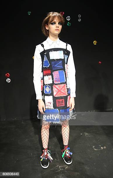 A model showcases designs at the Sadie Williams presentation during London Fashion Week Spring/Summer collections 2017 at the Institute of Contempary...