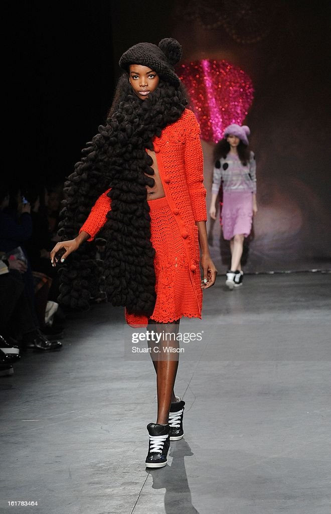 A model showcases designs at the Sister by Sibling presentation during London Fashion Week Fall/Winter 2013/14 at ICA on February 16, 2013 in London, England.