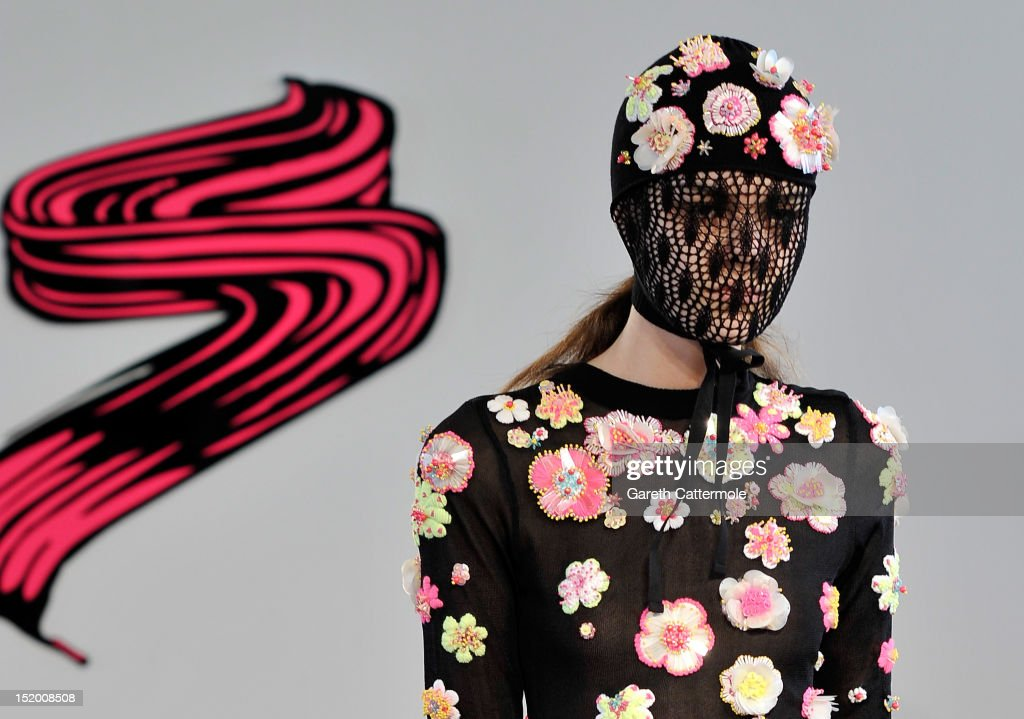 A model showcases designs at the Sister By Sibling Salon Show on day 2 of London Fashion Week Spring/Summer 2013, at The Portico Show Space on September 15, 2012 in London, England.