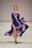 A model showcases designs by Aanchal Chanda on the catwalk during the New Generation 2 group show on day five of MercedesBenz Fashion Week Australia...