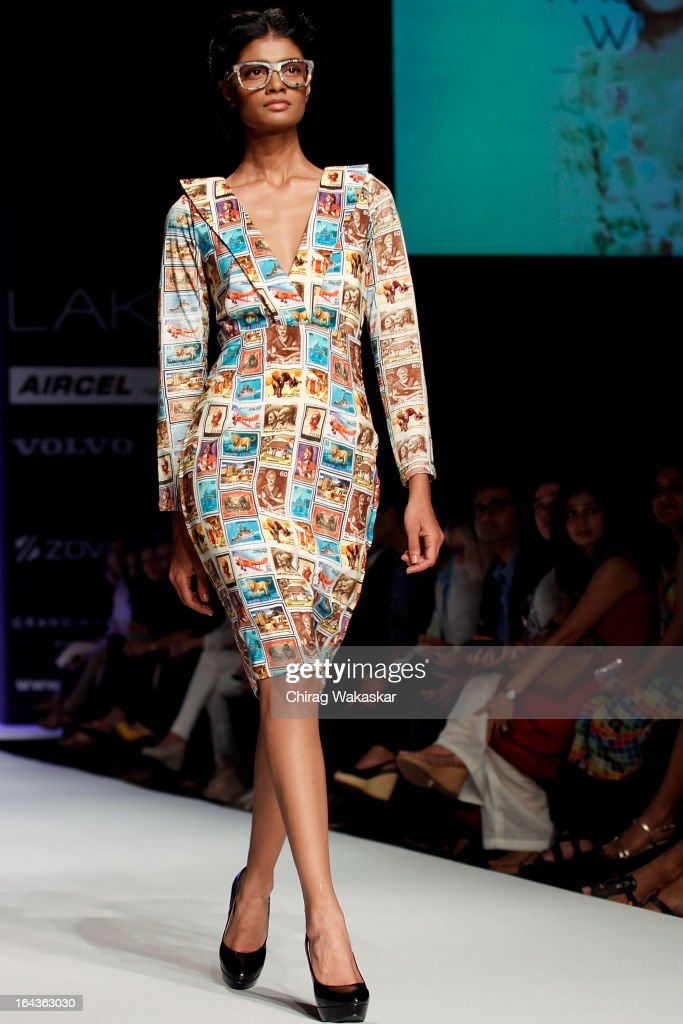 A model showcases designs by Aarti Vijay Gupta on the runway during day two of the Lakme Fashion Week Summer/Resort 2013 at Grand Hyatt on March 23, 2013 in Mumbai, India.