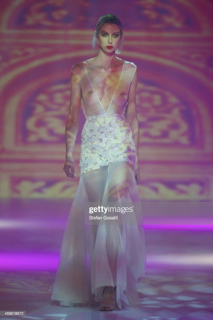 A model showcases designs by Ae'lkemi on the catwalk during Styleaid Mythic at Crown on August 1, 2014 in Perth, Australia.
