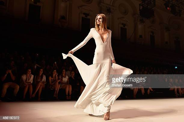 A model showcases designs by Ae'lkemi on the runway during MB Presents Australian Style show at MercedesBenz Fashion Festival Sydney at Sydney Town...