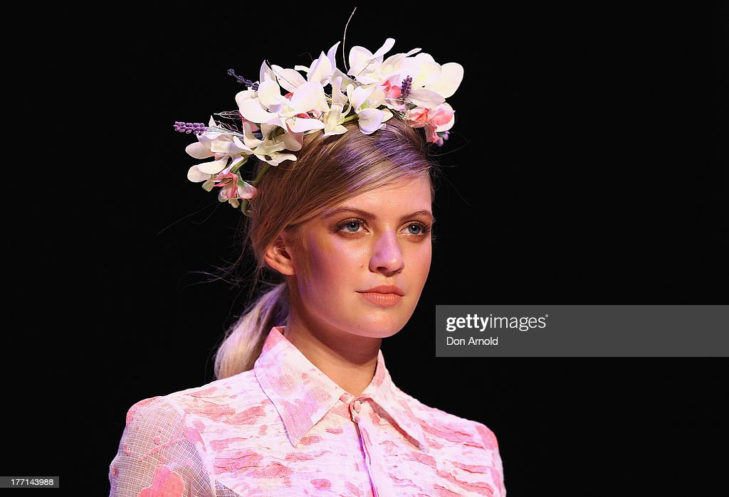 A model showcases designs by Aja on the runway at the MBFWA Trends show during Mercedes-Benz Fashion Festival Sydney 2013 at Sydney Town Hall on August 21, 2013 in Sydney, Australia.