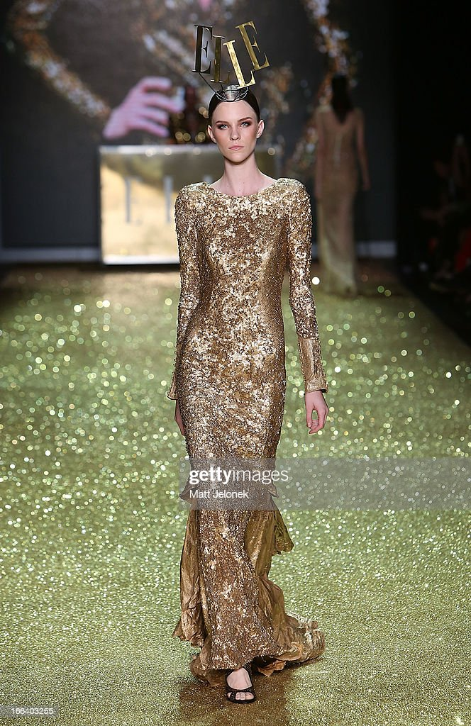 A model showcases designs by Aje on the runway at the Hello Elle Australia show during Mercedes-Benz Fashion Week Australia Spring/Summer 2013/14 at Carriageworks on April 12, 2013 in Sydney, Australia.