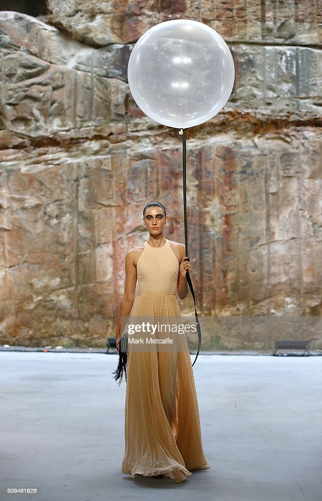A model showcases designs by Alex Perry during rehearsal ahead of the Myer AW16 Fashion Launch on February 11, 2016 in Sydney, Australia.