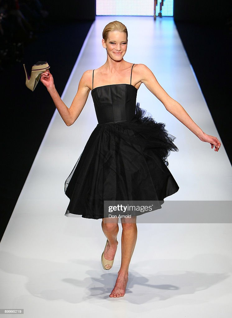 A model showcases designs by Alex Perry during the Alex Perry show on the catwalk at Rosemount Sydney Fashion Festival 2009 at Martin Place on August 22, 2009 in Sydney, Australia.