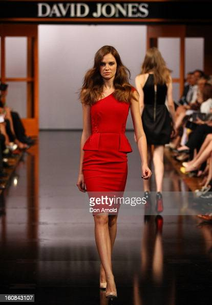 A model showcases designs by Alex Perry during the David Jones A/W 2013 Season Launch at David Jones Castlereagh Street on February 6 2013 in Sydney...