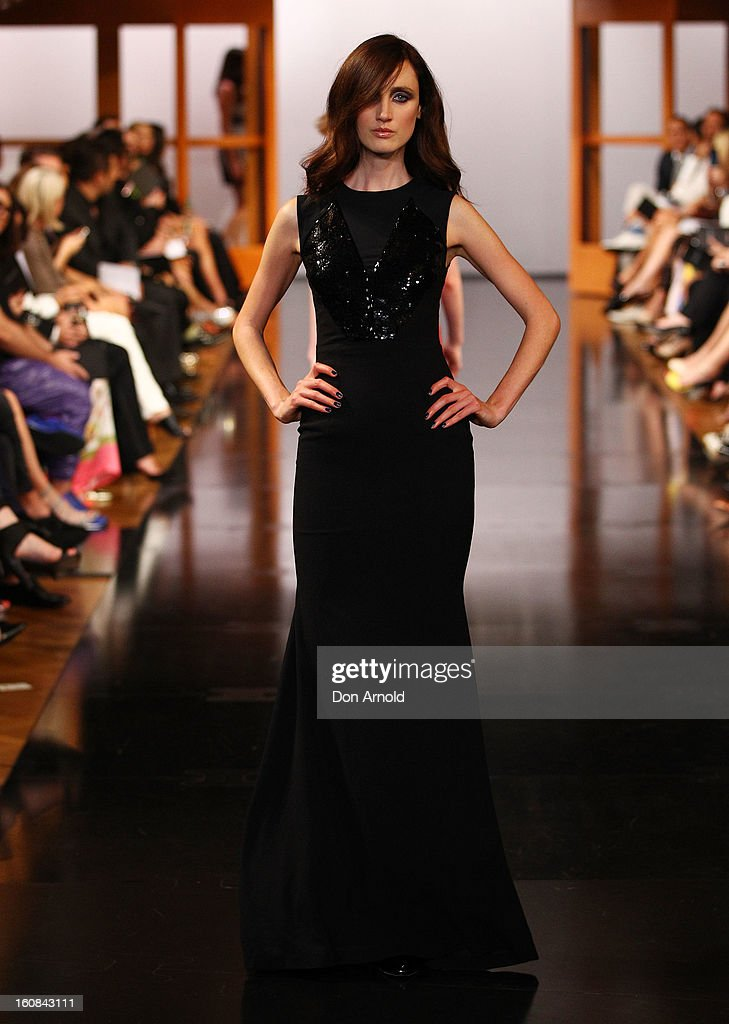 A model showcases designs by Alex Perry during the David Jones A/W 2013 Season Launch at David Jones Castlereagh Street on February 6, 2013 in Sydney, Australia.