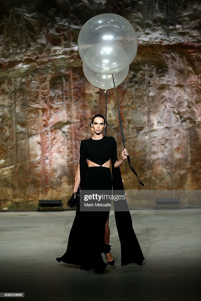 A model showcases designs by Alex Perry on the runway at the Myer AW16 Fashion Launch on February 11, 2016 in Sydney, Australia.
