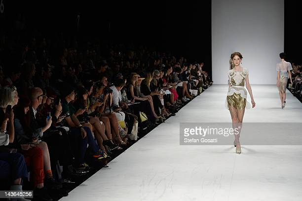 A model showcases designs by Alice McCall on the catwalk on day three of MercedesBenz Fashion Week Australia Spring/Summer 2012/13 at Overseas...