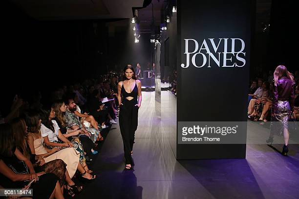 A model showcases designs by Alice McCall on the runway at the David Jones Autumn/Winter 2016 Fashion Launch at David Jones Elizabeth Street Store on...