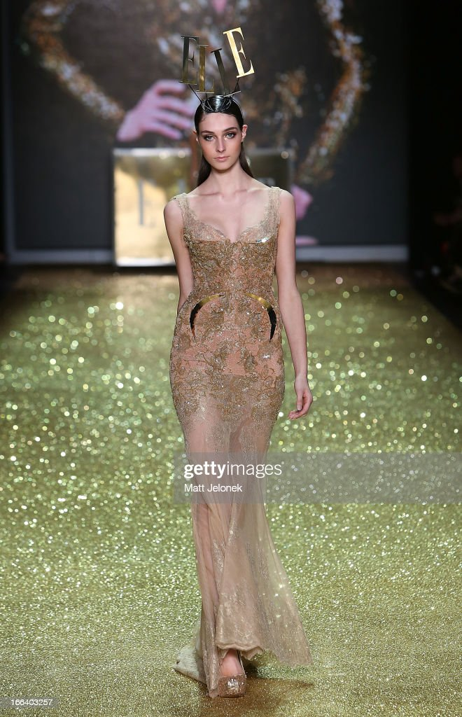 A model showcases designs by Alice McCall on the runway at the Hello Elle Australia show during Mercedes-Benz Fashion Week Australia Spring/Summer 2013/14 at Carriageworks on April 12, 2013 in Sydney, Australia.
