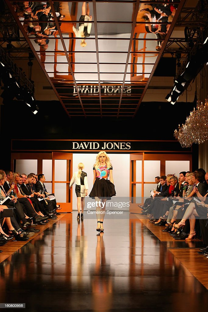 A model showcases designs by Alice McCall on the runway during the David Jones A/W 2013 Season Launch at David Jones Castlereagh Street on February 6, 2013 in Sydney, Australia.