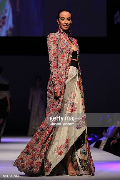 A model showcases designs by Anamika Khanna during the Indian Film Festival of Melbourne Awards Night at National Gallery of Victoria on August 15...