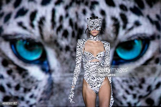 A model showcases designs by Andres Sarda on the runway at the Andres Sarda show during MercedesBenz Fashion Week Madrid Spring/Summer 2016 at Ifema...