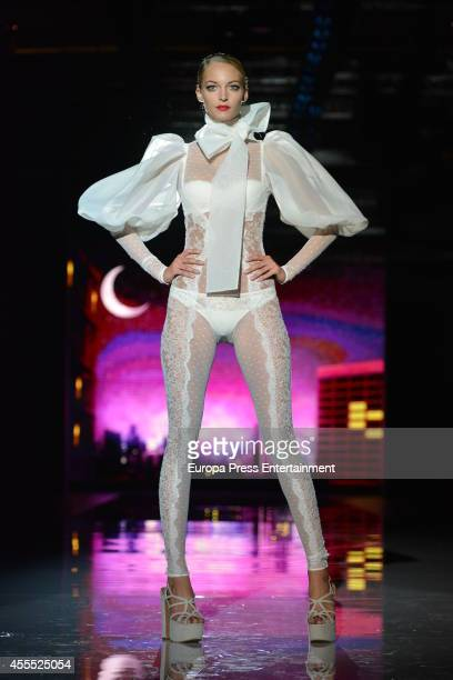 A model showcases designs by Andres Sarda on the runway during Mercedes Benz Fashion Week Madrid Spring/Summer 2015 at Ifema on September 15 2014 in...