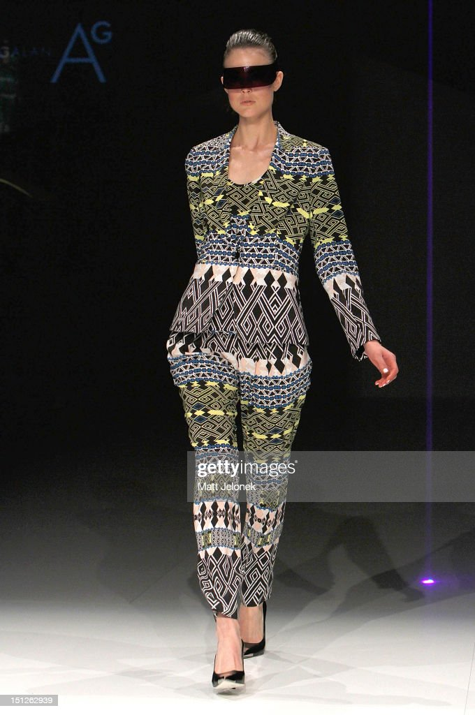 A model showcases designs by Arthur Galan AG on the catwalk on day 3 of Melbourne Spring Fashion Week 2012 at Melbourne Town Hall on September 5, 2012 in Melbourne, Australia.