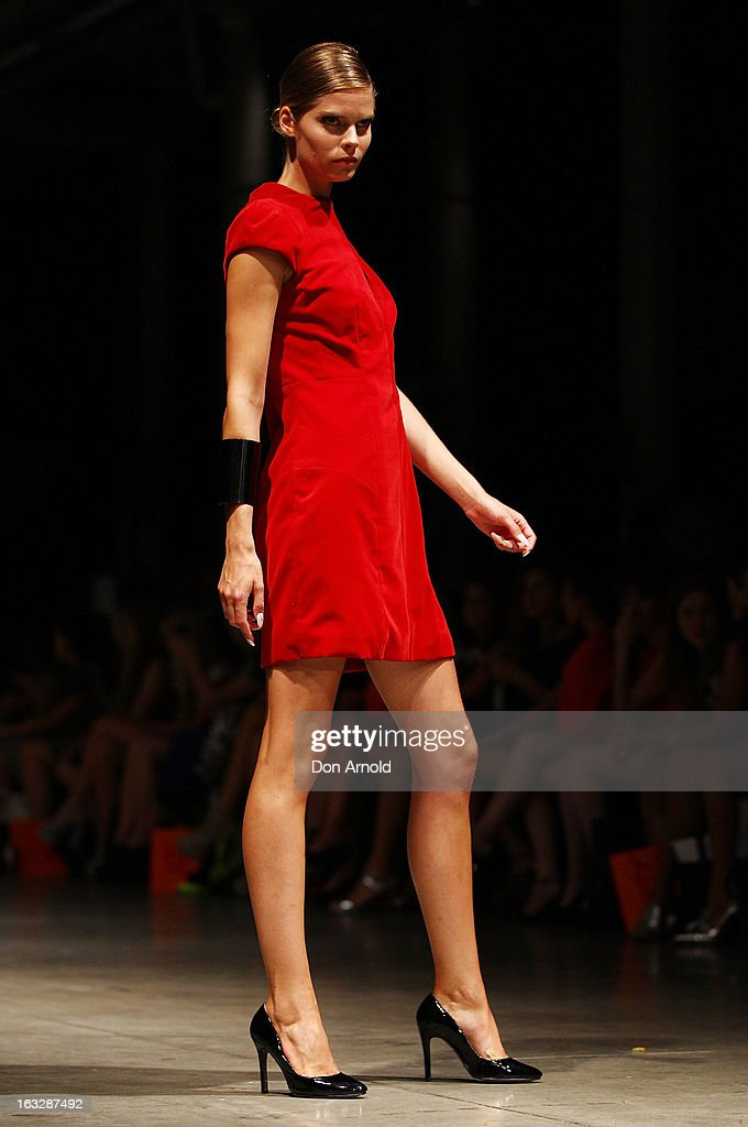 A model showcases designs by Arthur Galan on the runway during Fashion Palette 2013 on March 7, 2013 in Sydney, Australia.
